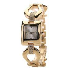 Bluelans Women's Bangle Rhinestone Square Analog Quartz Wrist Watch (Gold)
