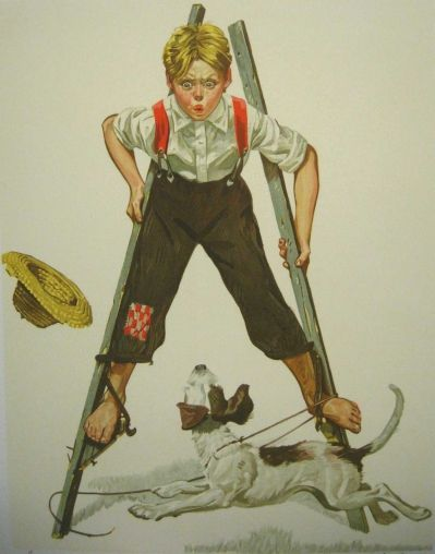 Norman Rockwell, Boy on Stilts