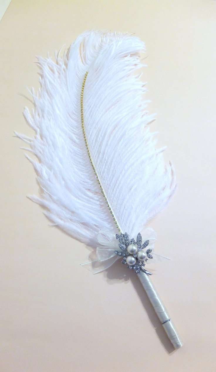 Large Elegant Ivory Feather Wedding Guest Book Pen with Pearl Brooch