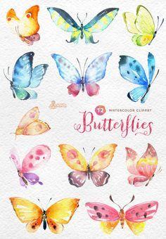 Schmetterlinge Aquarell: 12 separate handgemalte Clipart, diy Elemente, Einladung, Hochzeit, Grüße, Blumen, Flügel, digitaler Schmetterling