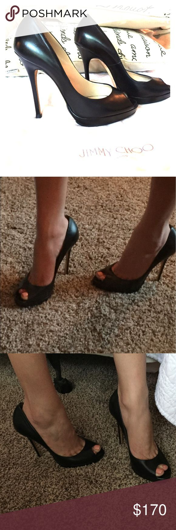 "•24 hr sale•[Jimmy Choo] peep toe pump In  EUC, I wish these fit me. I am reposhing due to size, these indeed fit true to size 7. Black leather open toe heels, perfect for work or going out on a date! I had them taken to a cobbler to have resoled and the heel caps recapped and the shoes are nice and clean. There is a small scuff on the front toe area shown in the photo but you can't notice. About a 4"" heel. Comes with dust bag. Jimmy Choo Shoes Heels"