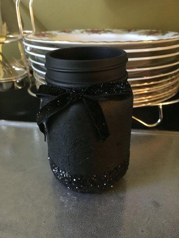 matte black and glitter mason jar