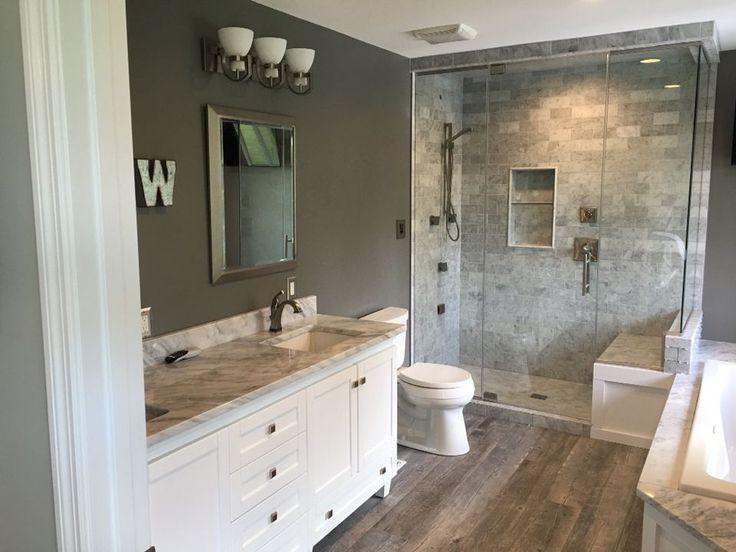 Benjamin Moore Chelsea Gray walls, Carrera Marble counter tops and tile.