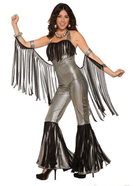 Adult/'s Women/'s Disco Queen White Gold Jumpsuit 70/'s 80/'s Fancy Dress Costume