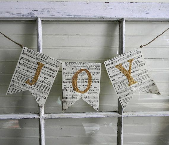 christmas banner garland joy recycled book by carolinavintageco 600 - Book Page Decorations
