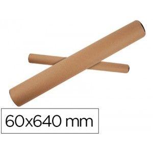 Tubo de cartón para envio de planos, posters, etc..   Tamaño: 60 mm. de Ø x 640 mm. de largo (para contener tamaño A1).  Incluye las tapas de plástico.