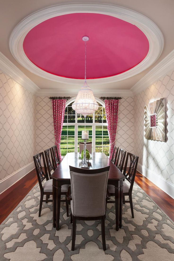 Not Usually A Fan Of Pink In The Dining Room But This Is Just Fun