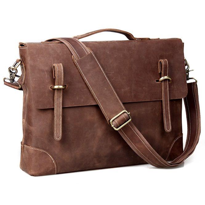 Vintage Handmade Crazy Horse Leather Briefcase / Messenger / 14 Laptop 15 MacBook Bag
