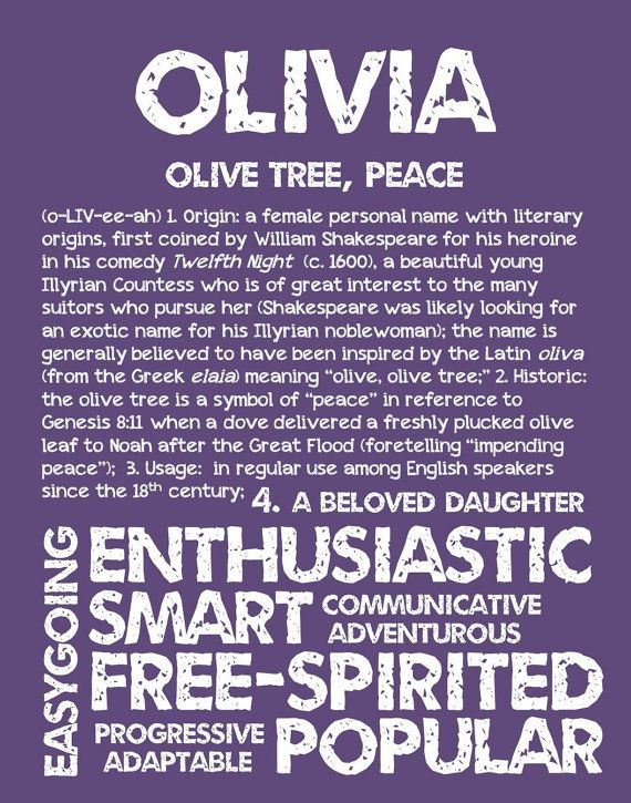 OLIVIA-Everytime we call our daughter by name.The word peace wil shower over her ♡