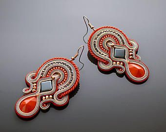 Orange gray Soutache earrings with Hematite.