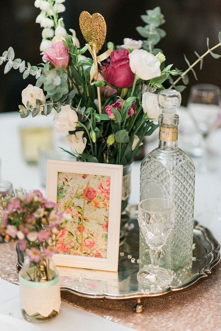 A romantic gold and pink vintage wedding runners trays