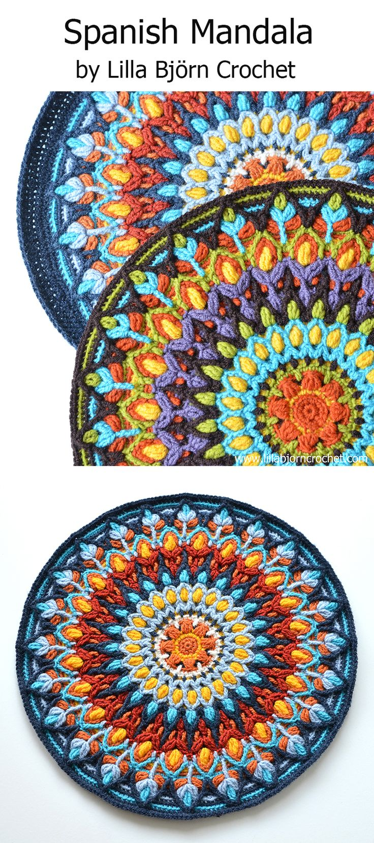 Spanish Mandala design was inspired by ceramic handmade plates from Spain. this mandala is made in overlay crochet technique, with lots of front post stitches. The crocheted fabric is quite thick, and it is ideal for making a round pillow. Check details on http://www.lillabjorncrochet.com/2016/05/spanish-mandala-create-your-own-sun.html                                                                                                                                                     More