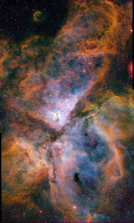 This image shows the Carina Nebula (NGC 3372), combining the light from 3 different filters tracing emission from oxygen (blue), hydrogen (green), and sulfur (red). - Credit: Nathan Smith, University of Minnesota/NOAO/AURA/NSF