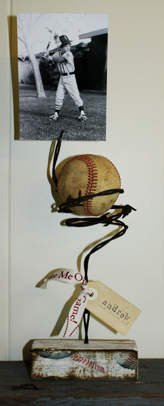 Barbed wire baseball photo display personalized by JulieGastineau, $25.00