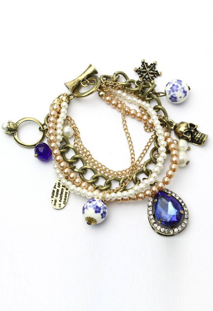 Pearl Chain Bracelet with Skull and Porcelain Jewels - Accessory - Retro, Indie and Unique Fashion