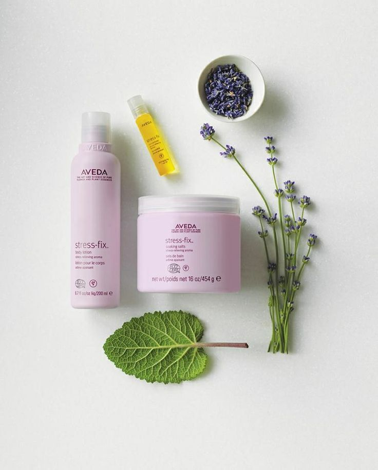 Stress Fix: Stress-fixTM body lotion, concentrate and soaking salts are all Ecocert certified organic. Their aroma, infused with French lavender, lavandin and clary sage from organic farms, is clinically proven to relieve feelings of stress. #StressFree #Aveda #StressFix #AvedaSalon #AvedaSpa #PaulDaCostaSalon