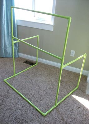 Make this one. 7' x 6' with backdrop. Velcro on three sides of backdrop to make easy to attach