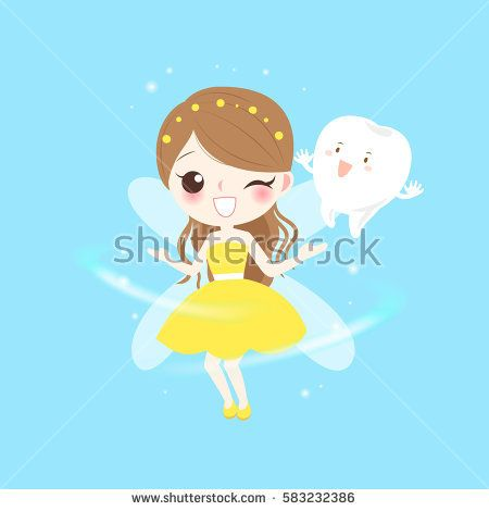 cute cartoon teeth with tooth fairy play happily