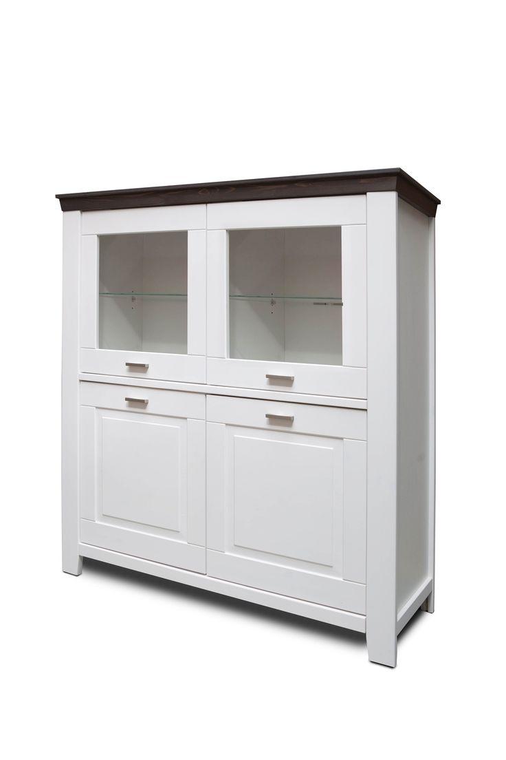 Příborník Loretto, 4d, dekor bílá / antracit (Landhaus)