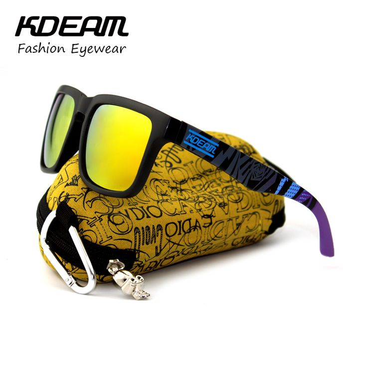 Kdeam Sport Sunglasses Men Reflective Coating Square Sun Glasses Women Brand Design Mirrored Oculos De Sol With Penut Hard Case