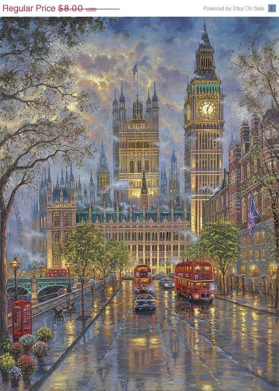 "ON SALE Counted Cross Stitch Patterns - London with Big Ben - Kinkade - 26.36"" x 35.36"" - L633"