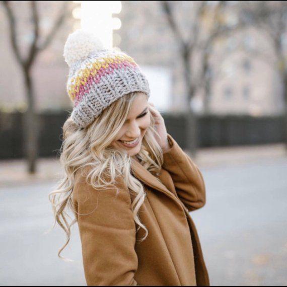 7b52df22738 Chunky Knit Hat Slouchy Pom Pom- Ellicott Hat