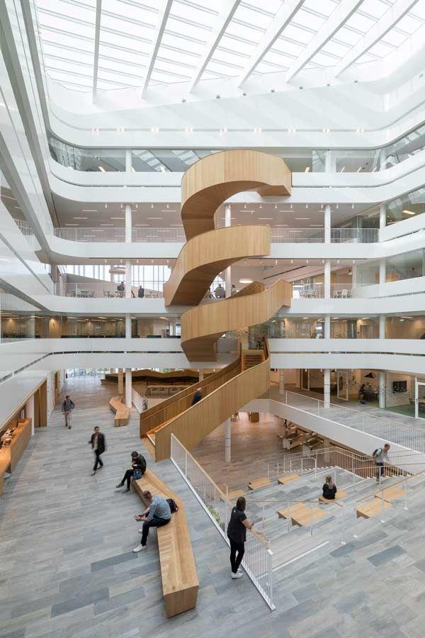 University Atrium Design At Uppsala University Atrium Design Stairs Architecture Stairs Design