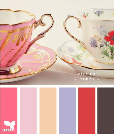 vintage tonesVintage Teacups, Colors Pallets, Design Seeds, Vintage Colors, Vintage Teas, Vintage Tone, Colors Palettes, Colors Schemes, Teas Parties