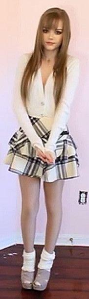 dakota rose kotakoti kawaii kawaii outfit skirt school girl school uniform yellow pastel pastel yellow cardigan sweater cream socks wedges shoes beige