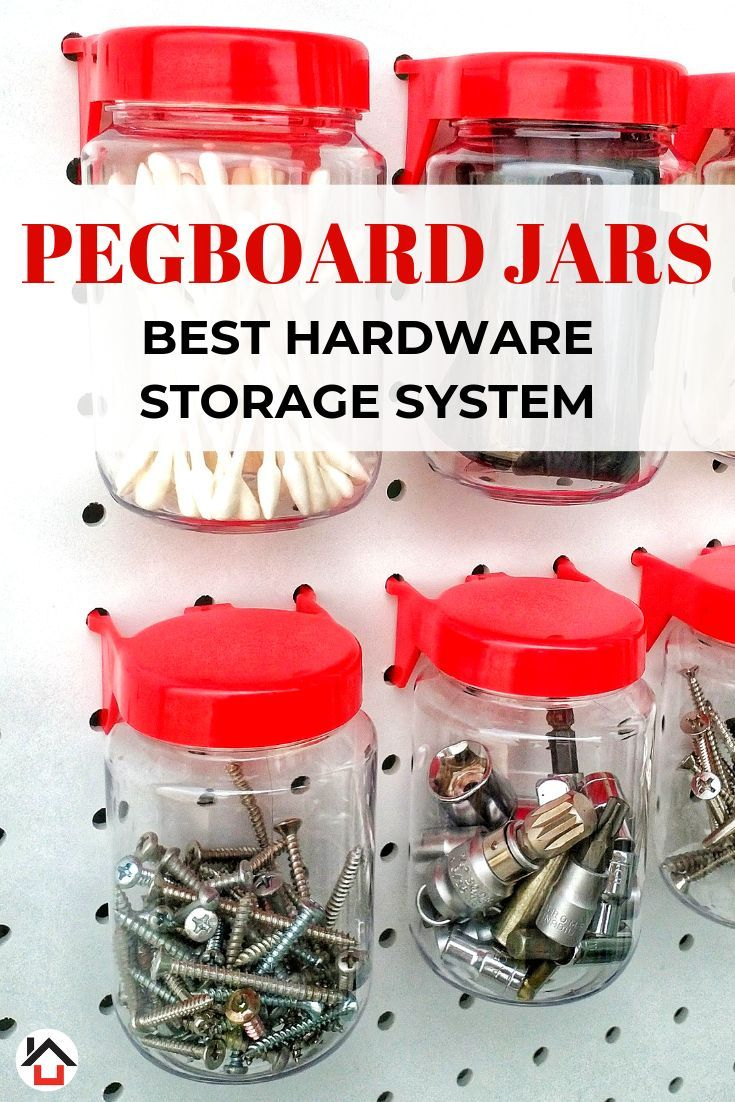 Tall Pegboard Accessories Organizer Storage Jars Large Size 2 X 4 Peg Board Attachments For Craft Sewing Garage Storage Set Of 6 Red Pegboard Accessories Peg Board Jar Storage