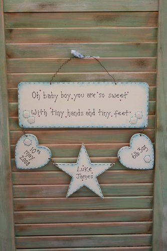 Personalised New Baby Boy Gift - Wooden Sign, Plaque, Handmade in the UK - Ideal Keepsake - £22.00