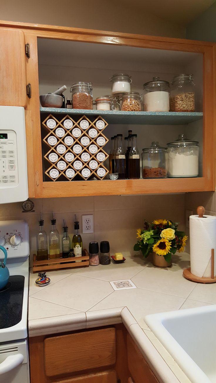 DIY Open Kitchen Shelf with Handmade Spice Rack - Imgur