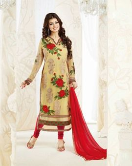 #Cream #Georgette #Embroidered #Dress #Material