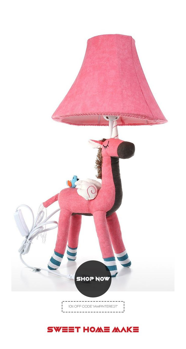 Pink Bedside Table: Pink Unicorn Bedside-Table Lamp & Girls Night Light By