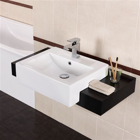 semi recessed vanity basin with under cupboards - Google Search