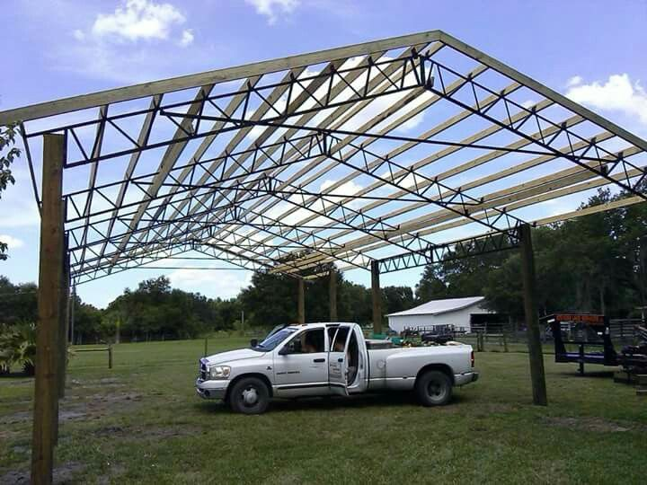 how to build roof trusses for pole barn