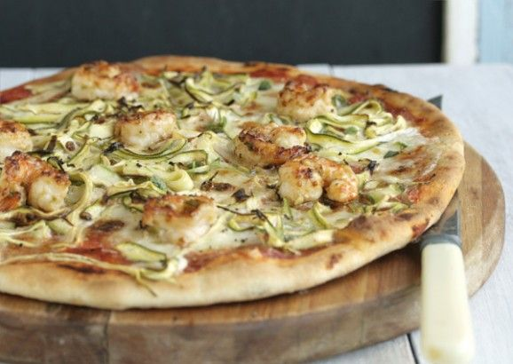chilli and garlic prawn pizza with zucchini and mozzarella soaked in cream