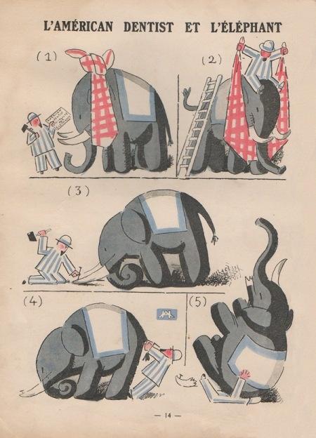 ¤ André Hellé - l'american dentist et l'éléphant.SUPERBE ALBUM DE 1923, Librairie GARNIER ANDRE HELLE - IMAGES DROLATIQUES