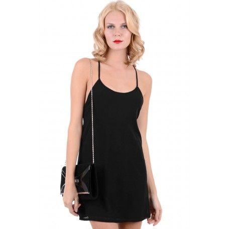 Black Chiffon Dress With Metal Back Detail