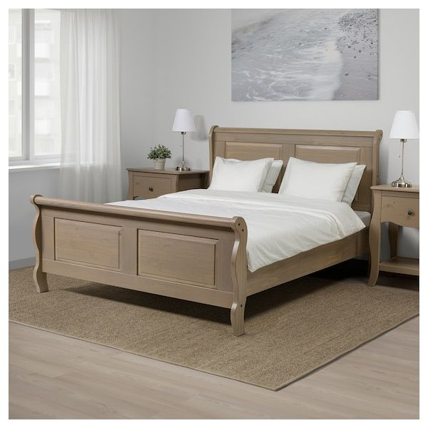 Hasselvika Bed Frame Gray Beige King Bed Frame Rustic Bedroom