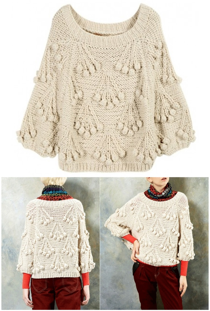 sweater poncho with cherry bobble design