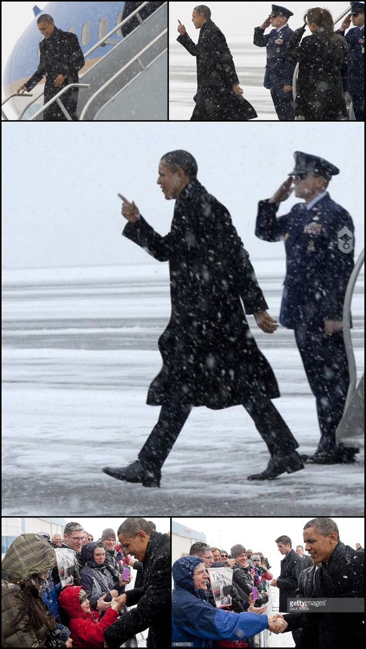 """""""You Know A Little Snow Not Going To Keep Me Away"""" #44thPresident #BarackObama greeted well-wishers upon arrival on Air Force One #during a #snowstorm at Manchester-#Boston Regional Airport in Manchester, New Hampshire, March 1, 2012. President Obama is traveled to Nashua, New Hampshire to speak about the #economy, before continuing to New York City to attend Democratic #fundraisers"""