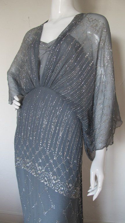 1970s Gina Fratini Ombre Silk Glitter Gown with Train 3