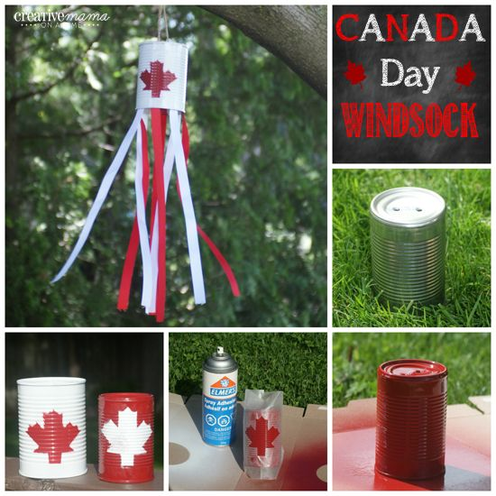 Canada Flag Windsock - Canada Day craft from an upcycled can