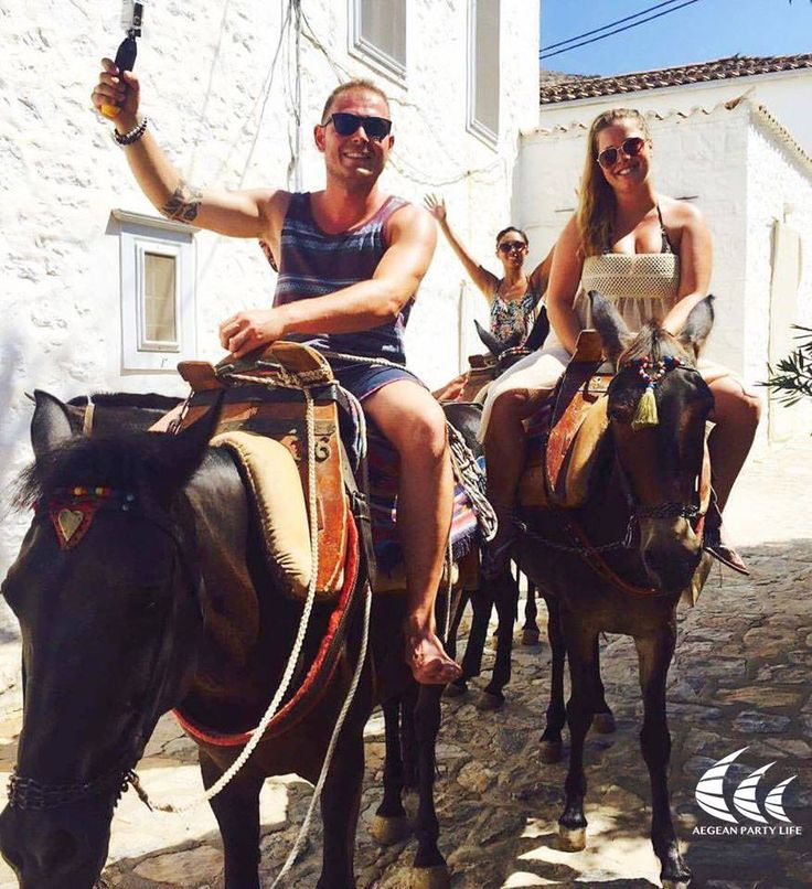 Take the Donkey ride, before the...Vodka ride! Right fellas?  #AegeanPartyLife #holywater