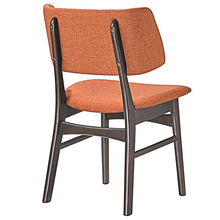 Vestige Dining Side Chair, Walnut Orange - Recollect fond memories and thoughtful exchanges in the Vestige Wood Dining Chair. Made of solid walnut rubberwood, and a linen upholstered foam back and seat, Vestige takes you everywhere you want to be. Close your eyes and open them to a new world of possibilities. Perfect for vintage modern, urban, ranch, and transitional decors, echo traces from the past while envisioning the future ahead. Set Includes: One - Vestige Dining Side Chair. Material…