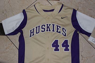 NEW Nike Washington Huskies SAMPLE Jersey NCAA Softball Button Purple Gold sz M