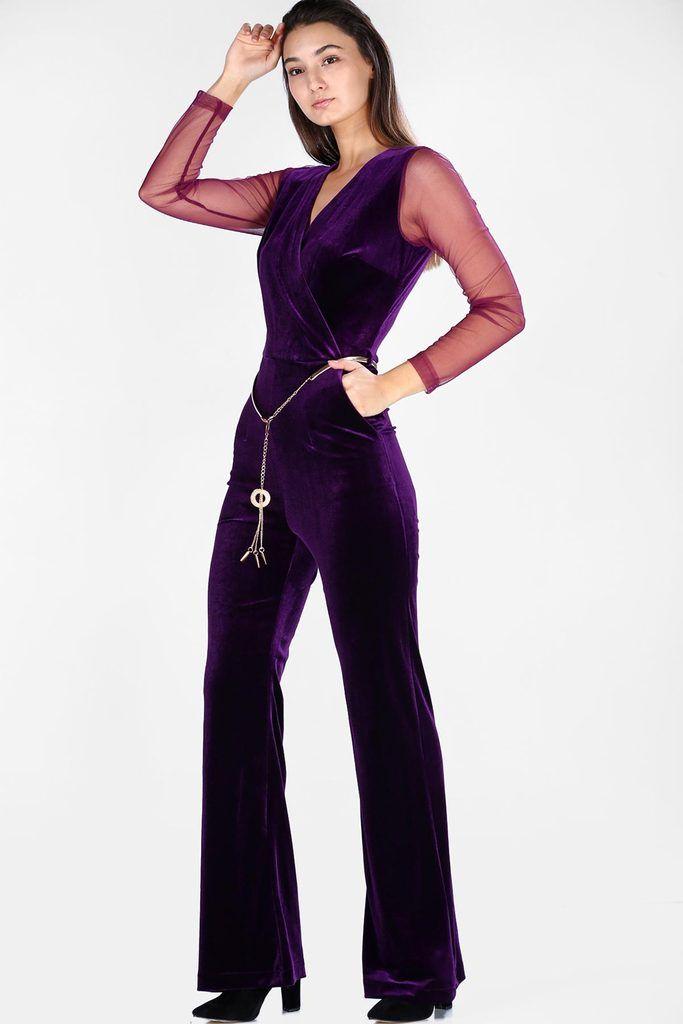 أوفرول مخملي بنفسجي غامق بحزام نسائي In 2020 Fashion Dresses Jumpsuit