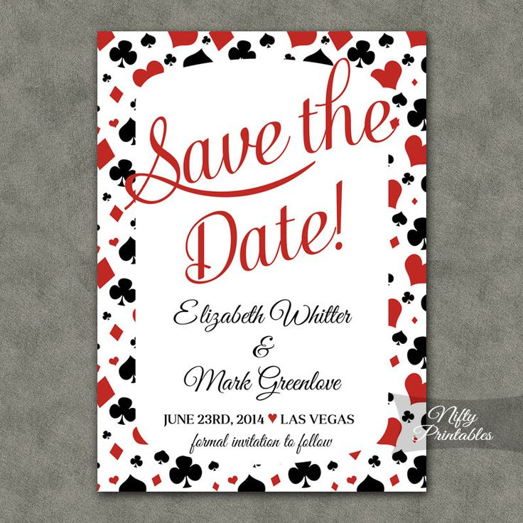 Poker Vegas Save The Date Invitation  Casino by NiftyPrintables