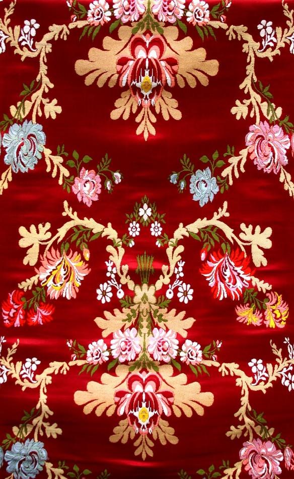 Tibetan-Red Lotus Brocade with Hand-woven Flowers